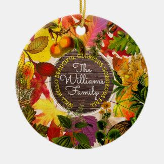 Ornement Rond En Céramique Bois de cru de collage de feuille d'automne