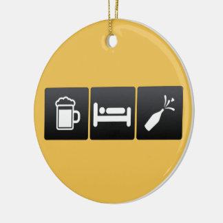 Ornement Rond En Céramique Boisson, sommeil et champagne