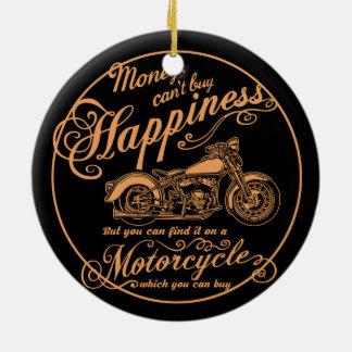 Ornement Rond En Céramique Bonheur - moto