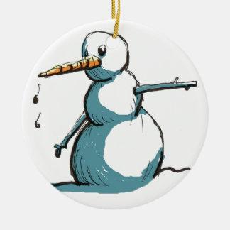 Ornement Rond En Céramique bonhomme de neige