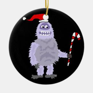 Ornement Rond En Céramique Bonhomme de neige abominable de Noël drôle