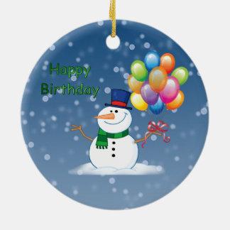 Ornement Rond En Céramique bonhomme de neige d'anniversaire d'hiver