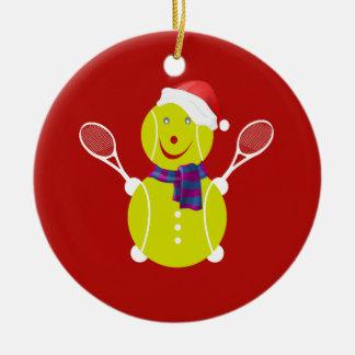 Ornement Rond En Céramique Bonhomme de neige de tennis