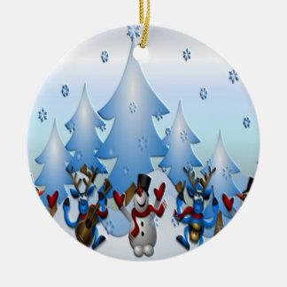 Ornement Rond En Céramique Bonhomme de neige et rennes dansant sous des