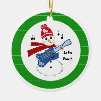 Ornement Rond En Céramique Bonhomme de neige jouant la guitare électrique de