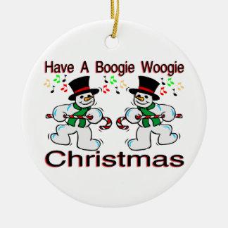 Ornement Rond En Céramique Bonhommes de neige de Noël de Woogie de boogie