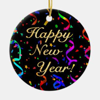 """Ornement Rond En Céramique """"Bonne année ! """"ornement (à simple face)"""