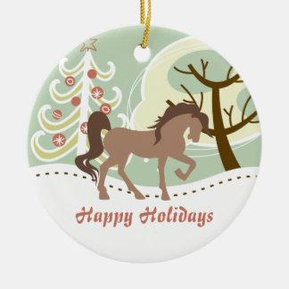 Ornement Rond En Céramique Bonnes fêtes hiver personnalisé de cheval de Brown