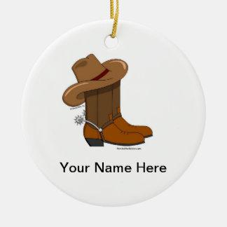 Ornement Rond En Céramique Bottes de cowboy