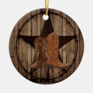 Ornement Rond En Céramique Bottes de cowboy en bois de pays occidental