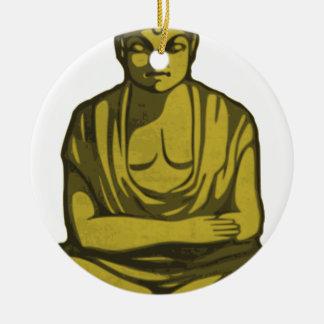 Ornement Rond En Céramique Bouddha d'or