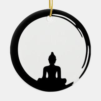 Ornement Rond En Céramique Bouddha silent