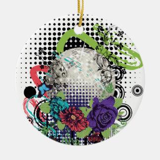 Ornement Rond En Céramique Boule argentée grunge de disco