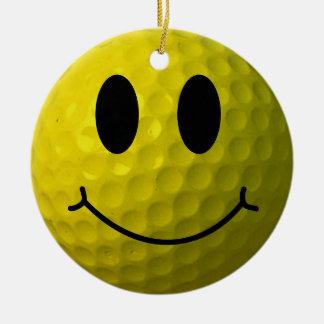 Ornement Rond En Céramique Boule de golf souriante de visage
