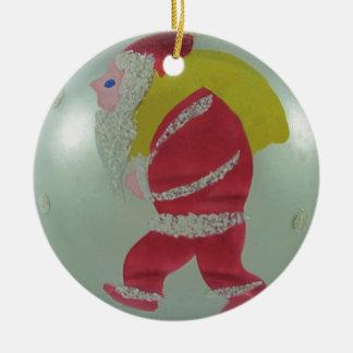 Ornement Rond En Céramique Boule en verre vintage Père Noël de Noël de