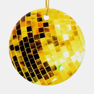 Ornement Rond En Céramique Boule géniale de disco d'or