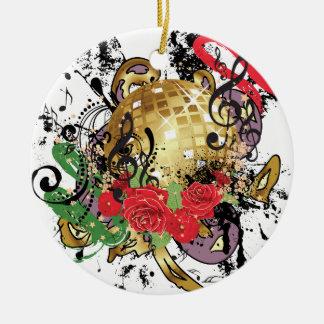 Ornement Rond En Céramique Boule grunge 2 de disco d'or