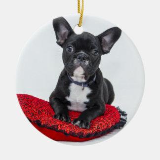 Ornement Rond En Céramique Bouledogue noir et blanc Terrier sur le coussin