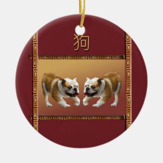 Ornement Rond En Céramique Bouledogues année chinoise de conception asiatique