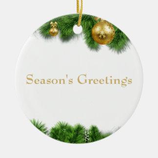 Ornement Rond En Céramique Boules de Noël d'or de guirlande de pin de Noël