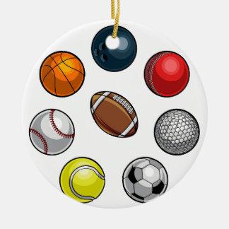 Ornement Rond En Céramique Boules de sports réglées