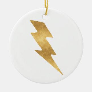 Ornement Rond En Céramique Boulon de foudre en or métallique