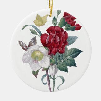 Ornement Rond En Céramique bouquet d'anémone et d'oeillets