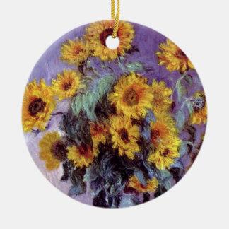 Ornement Rond En Céramique Bouquet des tournesols par Claude Monet, art