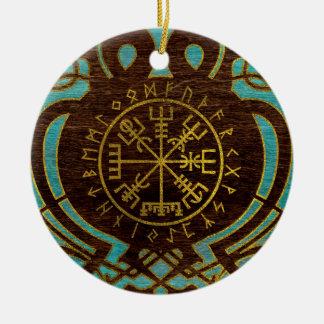 Ornement Rond En Céramique Boussole de navigation de Vegvisir - de Viking