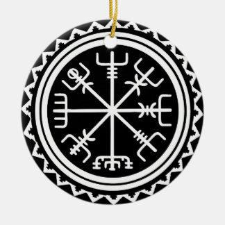 Ornement Rond En Céramique Boussole de Viking Vegvisir