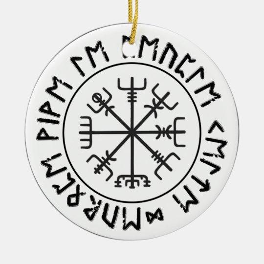 Ornement Rond En Céramique Boussole viking
