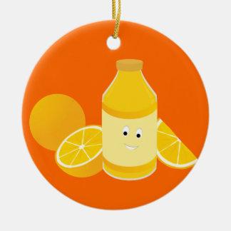 Ornement Rond En Céramique Bouteille de sourire de jus d'orange avec des