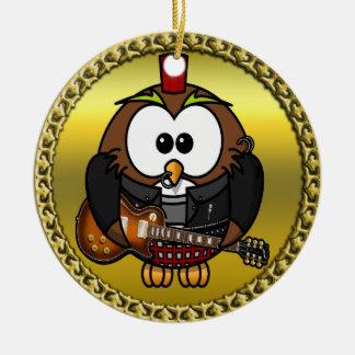 Ornement Rond En Céramique Brown et hibou blanc jouant une guitare avec le
