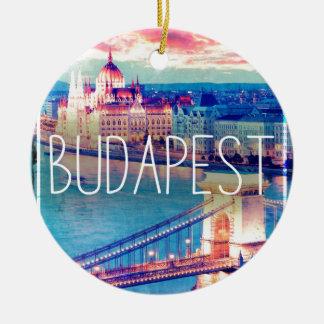 Ornement Rond En Céramique Budapest, vintage affiche