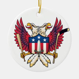 Ornement Rond En Céramique C.C-Double Eagle crête de fan de sports de
