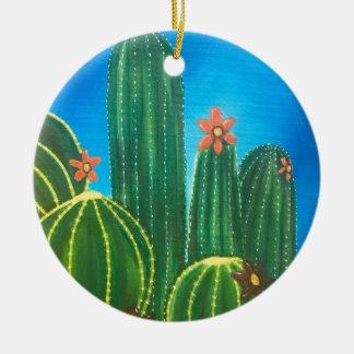 Ornement Rond En Céramique Cactus coloré