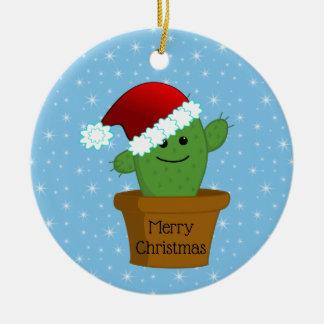 Ornement Rond En Céramique Cactus de Noël dans un casquette de Père Noël