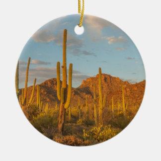 Ornement Rond En Céramique Cactus de Saguaro au coucher du soleil, Arizona