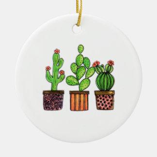 Ornement Rond En Céramique Cactus mignon d'aquarelle dans des pots
