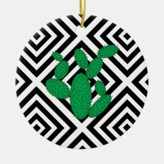 Ornement Rond En Céramique Cactus - motif géométrique abstrait - noir