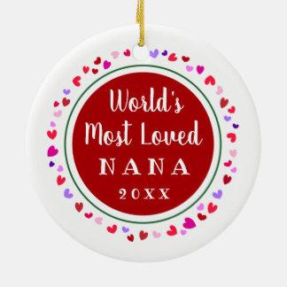 Ornement Rond En Céramique Cadeau de Noël de 2017 Nana la plus aimée, Mimi ou