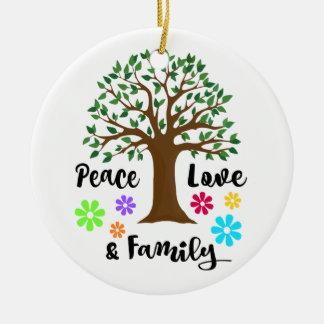 Ornement Rond En Céramique Cadeau de Noël de la Réunion d'arbre généalogique