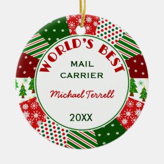 Ornement Rond En Céramique Cadeau de Noël de personne de courrier ou de