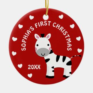 Ornement Rond En Céramique Cadeau de Noël du bébé de coeurs de zèbre