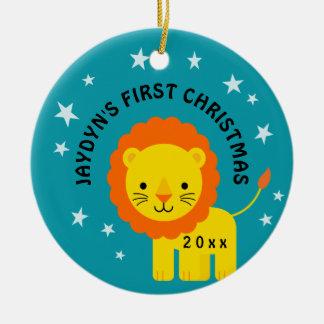 Ornement Rond En Céramique Cadeau de Noël du bébé de lion d'amusement ęr
