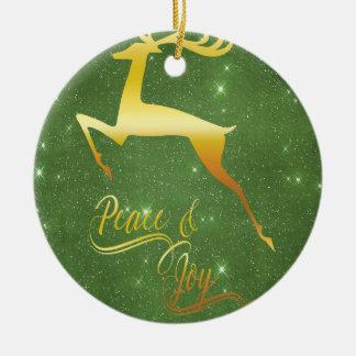 Ornement Rond En Céramique Cadeau étoilé vert de Noël de renne d'or de ciel
