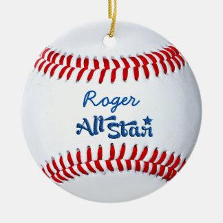 Ornement Rond En Céramique Cadeau personnalisé de joueur de baseball