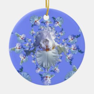 Ornement Rond En Céramique Cadeaux BLANCS et BLEUS DÉCORATIFS d'IRIS