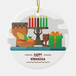 Ornement Rond En Céramique cadeaux heureux de Kwanzaa