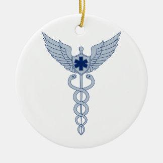 Ornement Rond En Céramique Caducée avec l'icône d'étoile des ailes EMT de